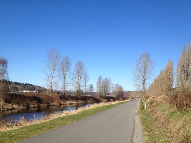 The beautiful riverside trail, looking northward