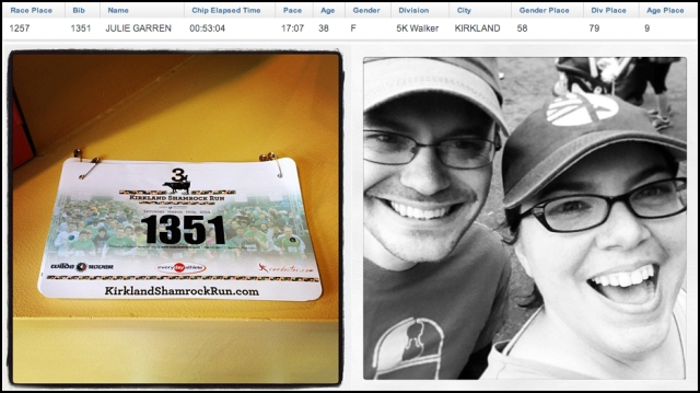 Finishing results, my first bib, and a smiley post-race selfie with the boyfriend.